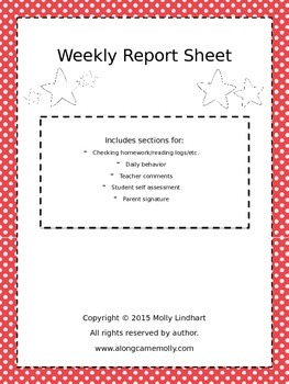 Editable Weekly Report- Great way to communicate with pare
