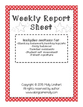 Weekly Report- Great way to communicate with parents on a