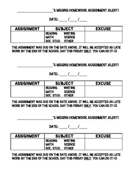 Weekly Report and Missing Assignments Slips