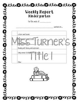 Weekly Reports/Literacy Checklists K-5