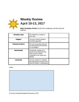 Weekly Review - Editable Template