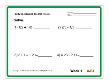 36 Week Review for Fractions and Decimals