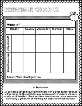 Weekly Summary and Behaviour Calendar