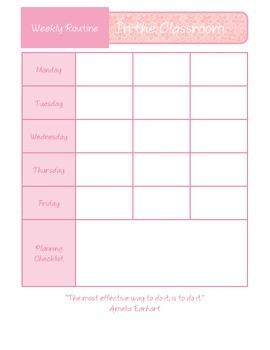 Weekly Routine Plan Sheet