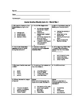 Weekly SS Quiz #11 - WWI