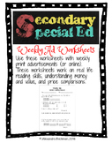 Weekly Sale Advertisment Worksheets: Math Skills with Real Ads