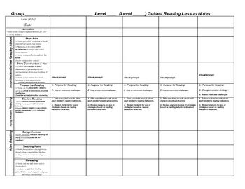 Weekly Scaffolded Guided Reading Lesson Plan Template By Jeanine - Free lesson plans templates