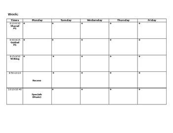 Weekly Schedule (EDITABLE!)