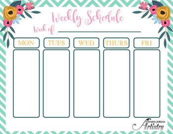 Weekly Schedule Freebie by Natasha Jordan Artistry