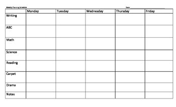 Weekly Schedule - Planning Template