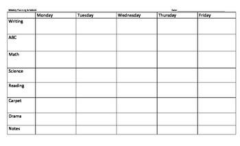 Weekly Schedule - Planning Template