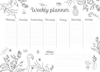 photograph about Weekly Agenda Printable named Weekly Routine Printable, Hourly Planner, Weekly Organiser