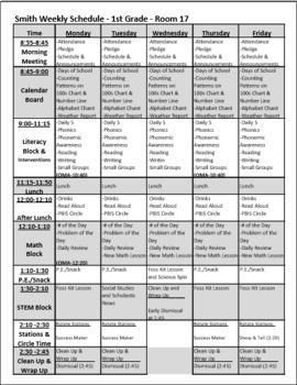 Weekly Schedule Sample