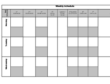 Weekly Schedule / Self-Contained / Middle School / Special Education