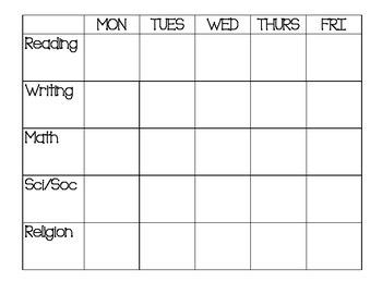 Weekly Schedule - Simple