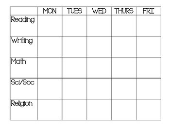 Weekly Schedule - Simple