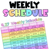 Weekly Schedule EDITABLE with times