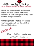 Weekly Schedule for Online English Teachers