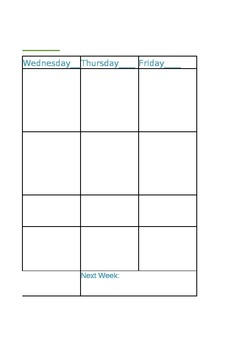 Weekly Schedule for Planner