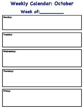 Weekly Schedules/Calendars