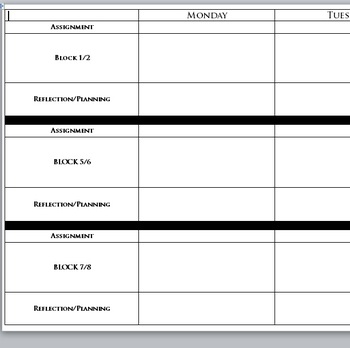 weekly scheduling or assignment sheet for block schedules pdf tpt