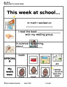 Weekly School-Home Communication Sheet