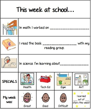 Weekly School-Home Communication Sheet