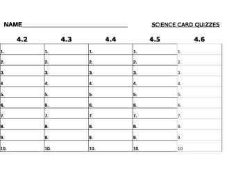 Weekly Science Quiz Worksheet