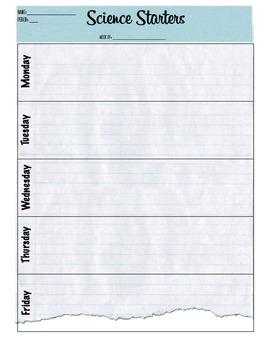 Weekly Science Starters Answer Sheet