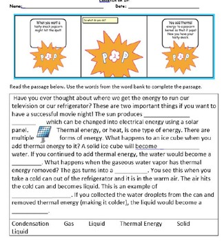 Weekly Science Vocabulary Matter and Energy