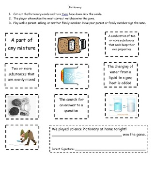 Weekly Science Vocabulary Mixtures and Solutions