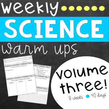 Weekly Science Warm Ups Volume 3