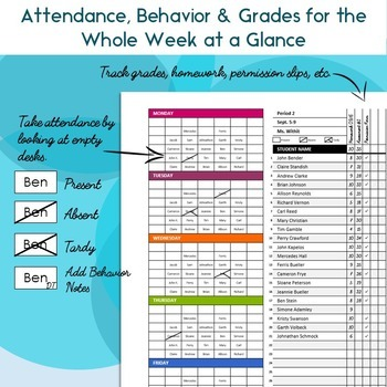 Weekly Seating Chart Attendance, Grades and Behavior Tracking