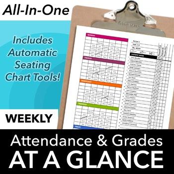 Classroom Seating Chart Attendance, Grade Sheet & Behavior Tracking Template