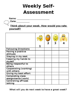 Weekly Self-Assessment Checklist