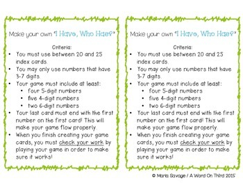 """FREE Place Value Enrichment Activity - DIY """"I Have, Who Has?"""""""