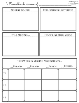 Weekly Sheet: Teacher Organization Tool