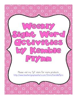 Weekly Sight Word Activities (American Spellings)