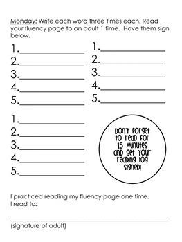 Weekly Sight Word & Fluency Homework Packet