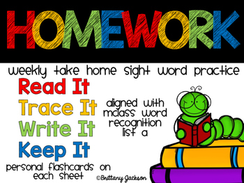 Weekly Sight Word Homework Set 1