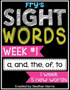 Weekly Sight Word Pack- Week 1