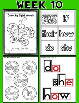 Weekly Sight Word Pack- Week 10