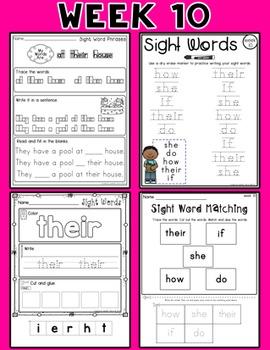 Weekly Sight Word Pack- Week 10
