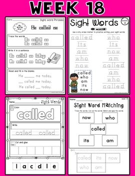 Weekly Sight Word Pack- Week 18