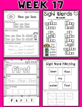 Weekly Sight Word Pack- Week 17