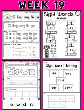 Weekly Sight Word Pack- Week 19