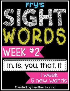 Weekly Sight Word Pack- Week 2