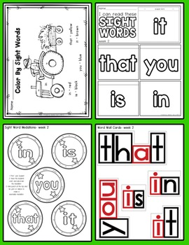 Weekly Sight Word Pack- Week 2