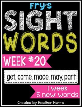 Weekly Sight Word Pack- Week 20