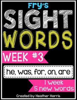 Weekly Sight Word Pack- Week 3